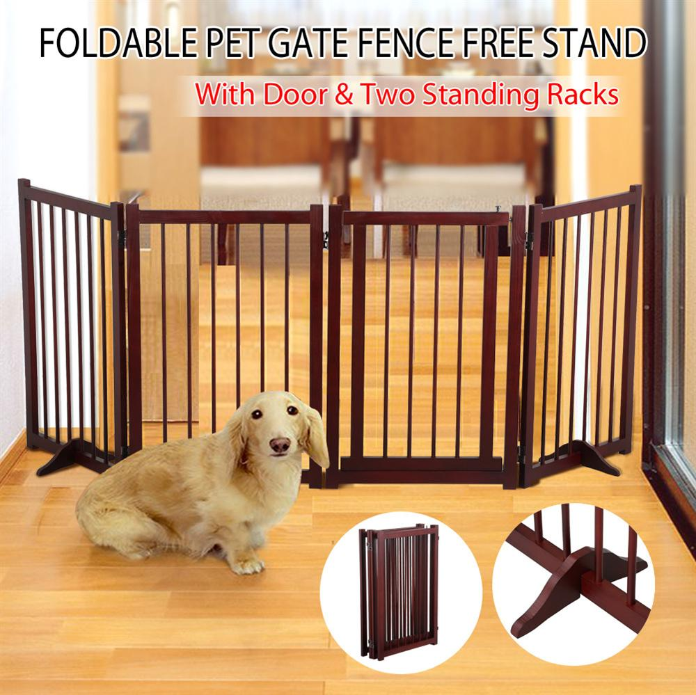 Topeakmart 30 Inch Folding Configurable Wooden Pet Gate Puppy Gate Barrier  Brown