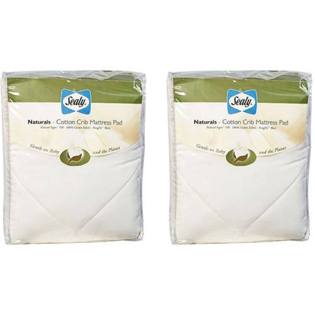 (2 Pack) Sealy Quilted Naturals Cotton Crib and Toddler Mattress Pad