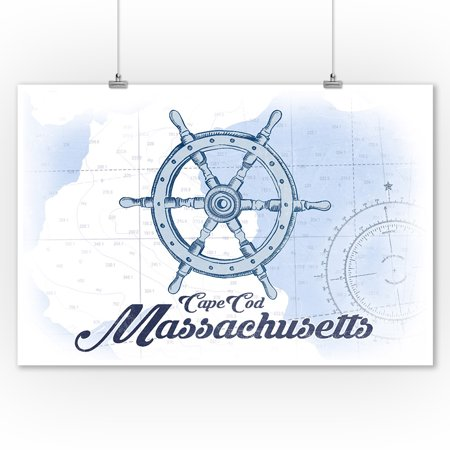 Cape Cod  Massachusetts   Ship Wheel   Blue   Coastal Icon   Lantern Press Artwork  9X12 Art Print  Wall Decor Travel Poster