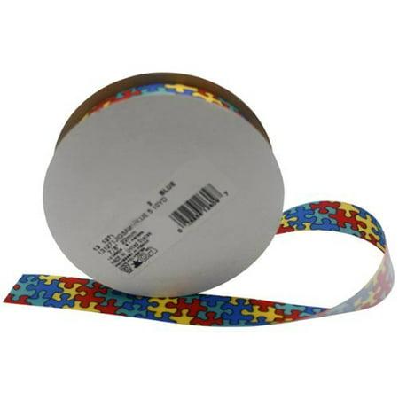 Autism Awareness Jigsaw Ribbon Spool - Autism Ribbons