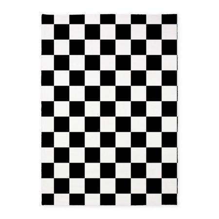 CafePress - BLACK AND WHITE Checkered Pattern - 5'x7'Area Rug (Checkered Carpet Black And White)
