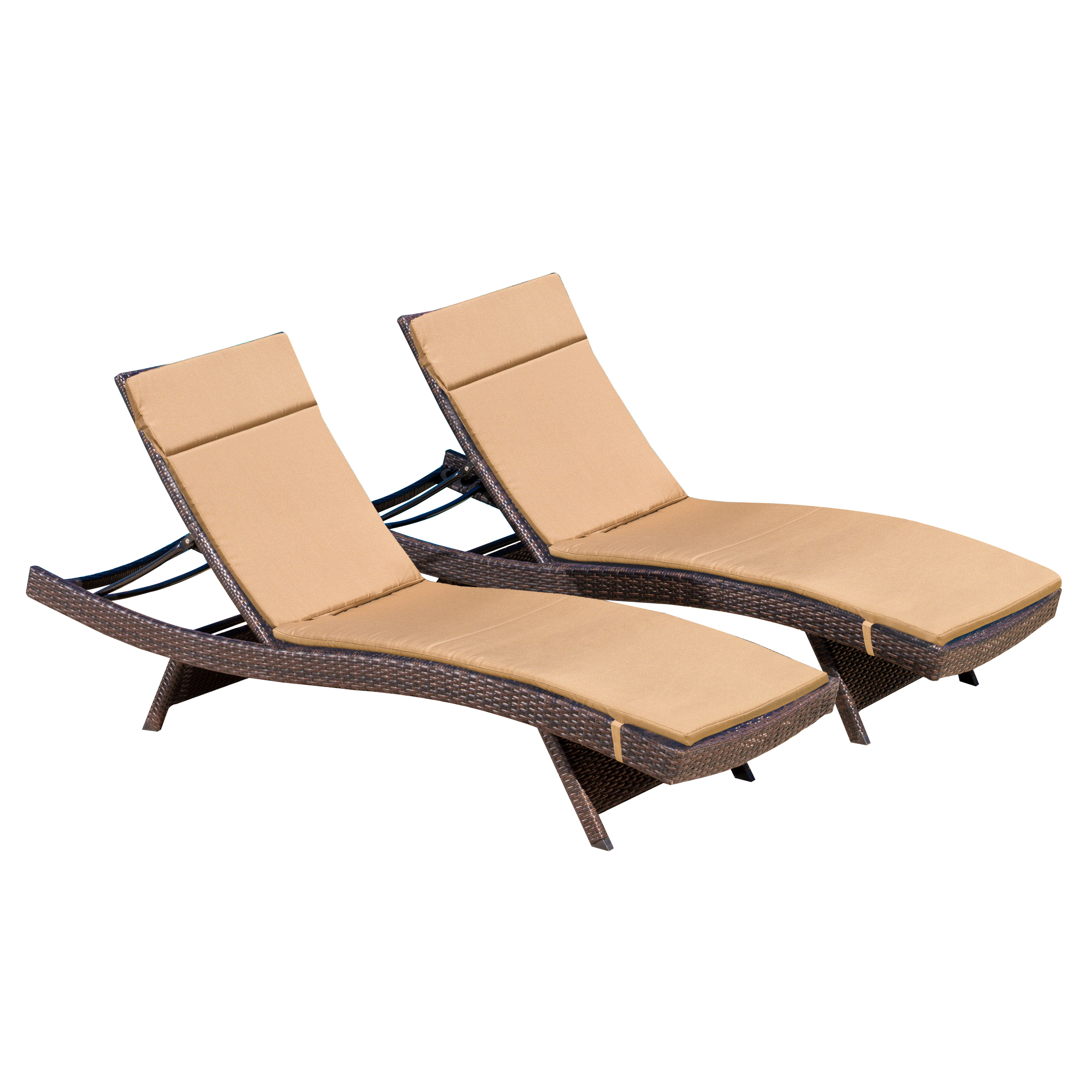 Noble House Outdoor Brown Wicker Adjustable Chaise Lounge With Caramel  Cushion (Set Of 2)