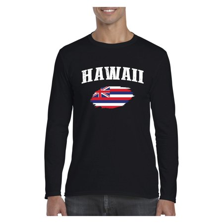 Hawaii State Flag Men Softstyle Long Sleeve T-Shirt ()