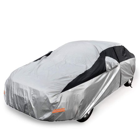 Car Cover Driver Side with Zipper Universal Fit All Weather Waterproof Sun UV Rain Snow Dust Wind Outdoor Protection (Fits Sedans up to 200