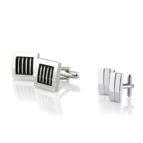 Zodaca 2 Pairs High Quality Classic Cufflinks Cuff Links Silver Square Rectangle