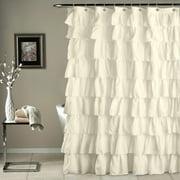 Beige Crushed Ruffle Fabric Shower Curtain 72 In X