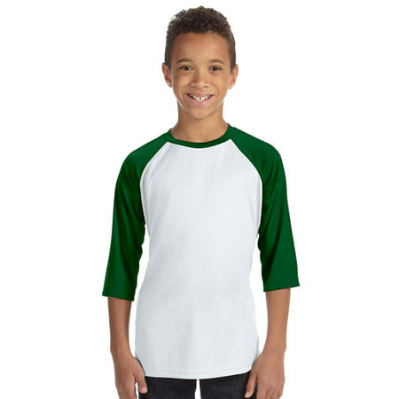 All Sport Y3229 for Team 365 Youth Baseball Shirt - White/Sp Forest - Large