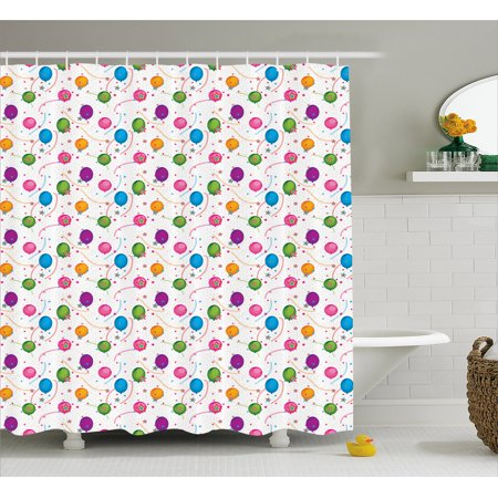 Birthday Shower Curtain, Vibrant Colored Flying Balloons with Stars and Confetti Pattern for Fun Event, Fabric Bathroom Set with Hooks, 69W X 70L Inches, Multicolor, by Ambesonne - Balloons With Confetti