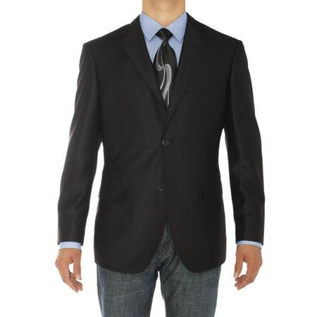 LN LUCIANO NATAZZI Mens Two Button Notch Lapel Blazer Modern Fit Suit Jacket (Black 4 Button Mens Suit)