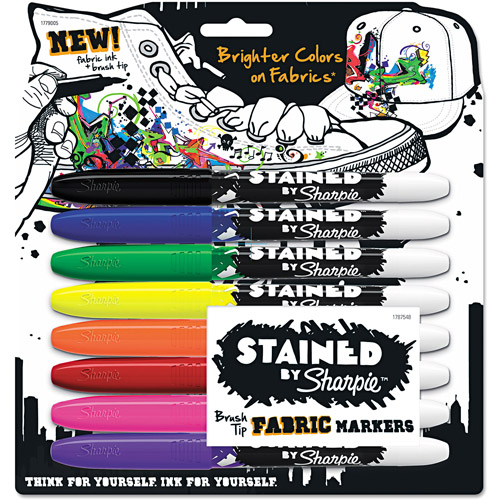 Sharpie Stained Permanent Fabric Marker, Assorted, 8pk