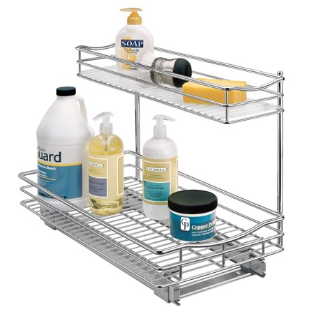 Lynk Professional® Slide Out Under Sink Cabinet Organizer - Pull Out Two Tier Sliding Shelf - 11.5 in. wide x 18 inch deep - Chrome Adjustable Pull Out Shelf