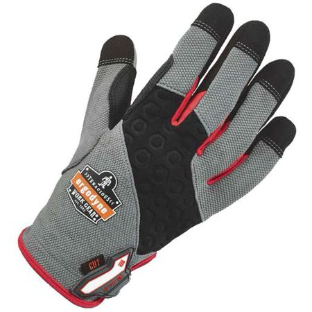 Ergodyne Small Black, Gray And Red ProFlex Heavy Duty Polyester And Neoprene Cut Resistant Gloves With Hook and Loop Cuff, Polyester Liner And Black Armortex Coating On Palm