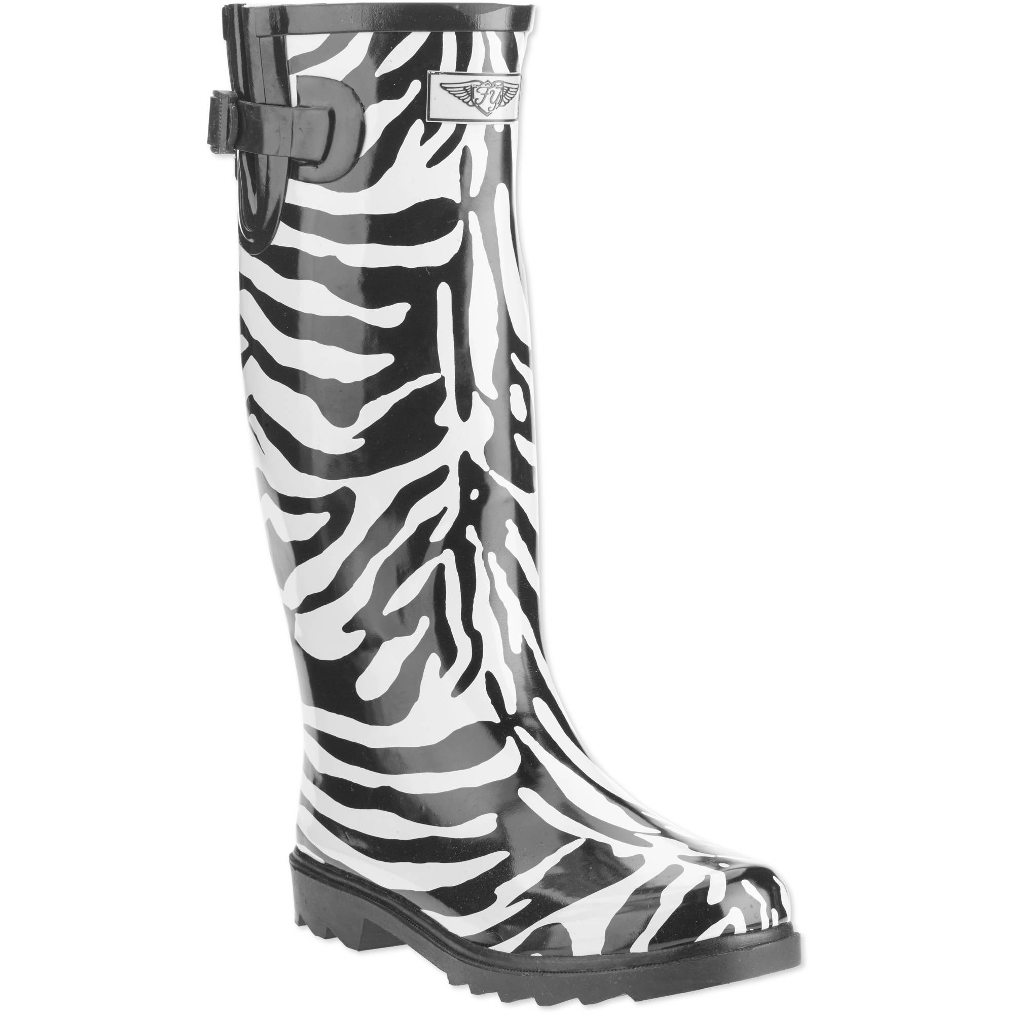 Forever Young Women's Zebra Print Tall Rain Boot