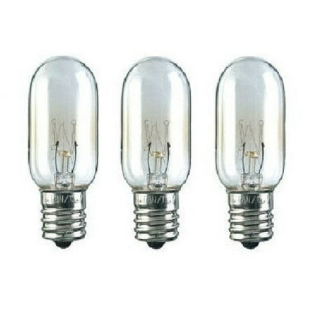 3 Microwave Light Bulbs for GE WB36x10003  40W 130V GE 40W Watt 130V Microwave Light Bulb wb36x10003 Replacement 3 Pack Made to replace GE bulb WB36x10003    Includes 3 light bulbs Screw in threaded baseT8 base size Will work in voltage applications from 110v to 130v Replace a burned out bulb in your microwave with this 40 watt appliance bulb and keep a few spares. These bulbs are commonly used in many brands of refrigerators and freezers too.  The bulbs will work with appliances that require a bulb voltage of 110 volts to 130 volts. Please note that these bulbs are high quality aftermarket parts made to meet or exceed the performance of the original bulbs.