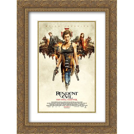 Resident Evil: The Final Chapter 18x24 Double Matted Gold Ornate Framed Movie Poster Art Print