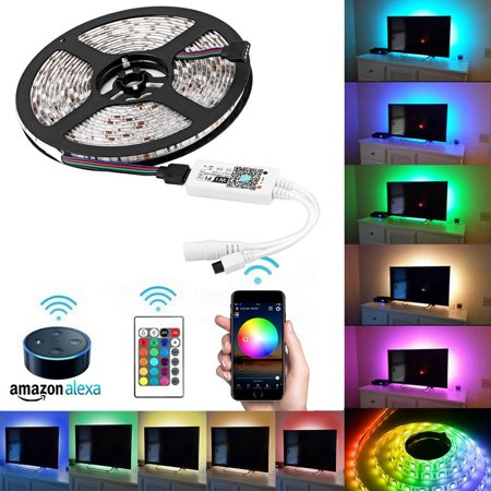 TSV WiFi LED Light Strip Music Sync Remote Controlled by Alexa Echo Android ISO Smart Phone IP65 Waterproof 16.4ft Cuttable Strip with 24 Keys Controller and RGB 150LED SMD5050