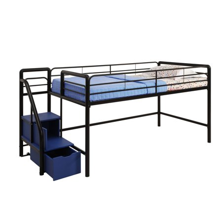 DHP Junior Twin Loft Bed with Storage Steps, Multiple Colors