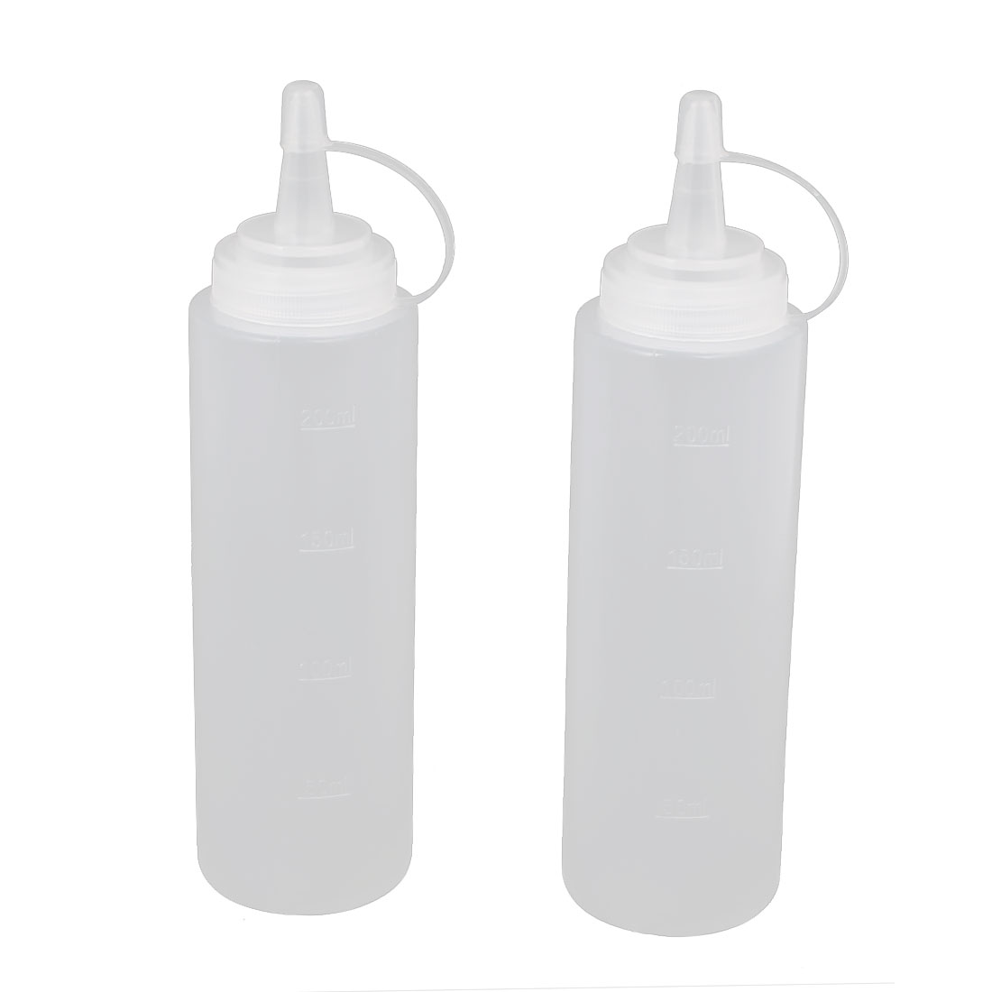 2Pcs 200ml Kitchen Plastic Squeeze Bottles Condiment Ketchup Mustard Oil Salt by Unique-Bargains