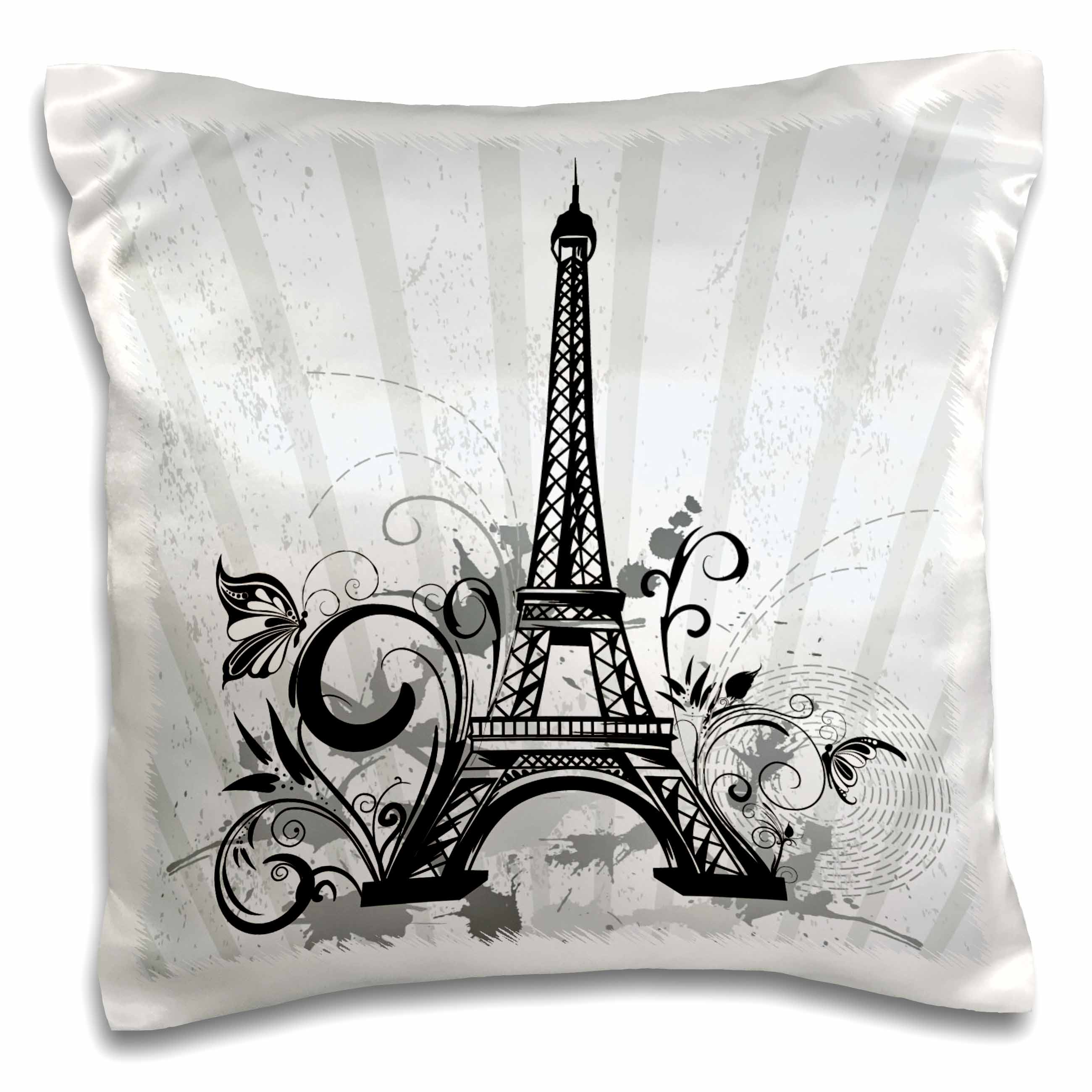 3dRose Black and Steel Blue Eiffel Tower With Flourishes and Butterflies, Pillow Case, 16 by 16-inch
