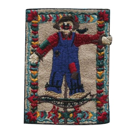 Harvest Applique (ID 1379 Scarecrow Badge Patch Fall Harvest Farm Embroidered Iron On Applique)