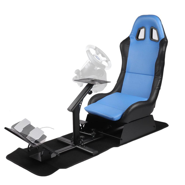 ACEHE Racing Seat Driving Simulator Cockpit Adjustable Gaming Chair + Steering Wheel / Pedal / Gear Shifter Mount , Blue & Black