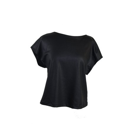 Studio M  Black Cap-Sleeve Leatherette Ponte Top M