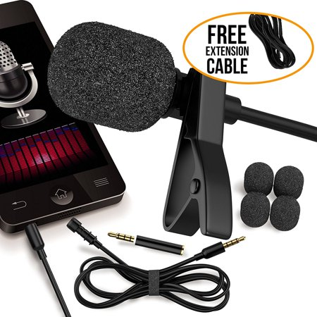 RockDaMic Professional Lavalier Microphone Free Bonus Accessories Best Clip-on System Lapel Mic Condenser for Recording Youtube DSLR Interview Camera iPhone Android PC Video Conference