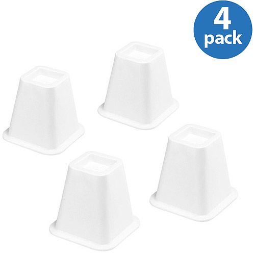Whitmor Bed Risers, White, Set of 4