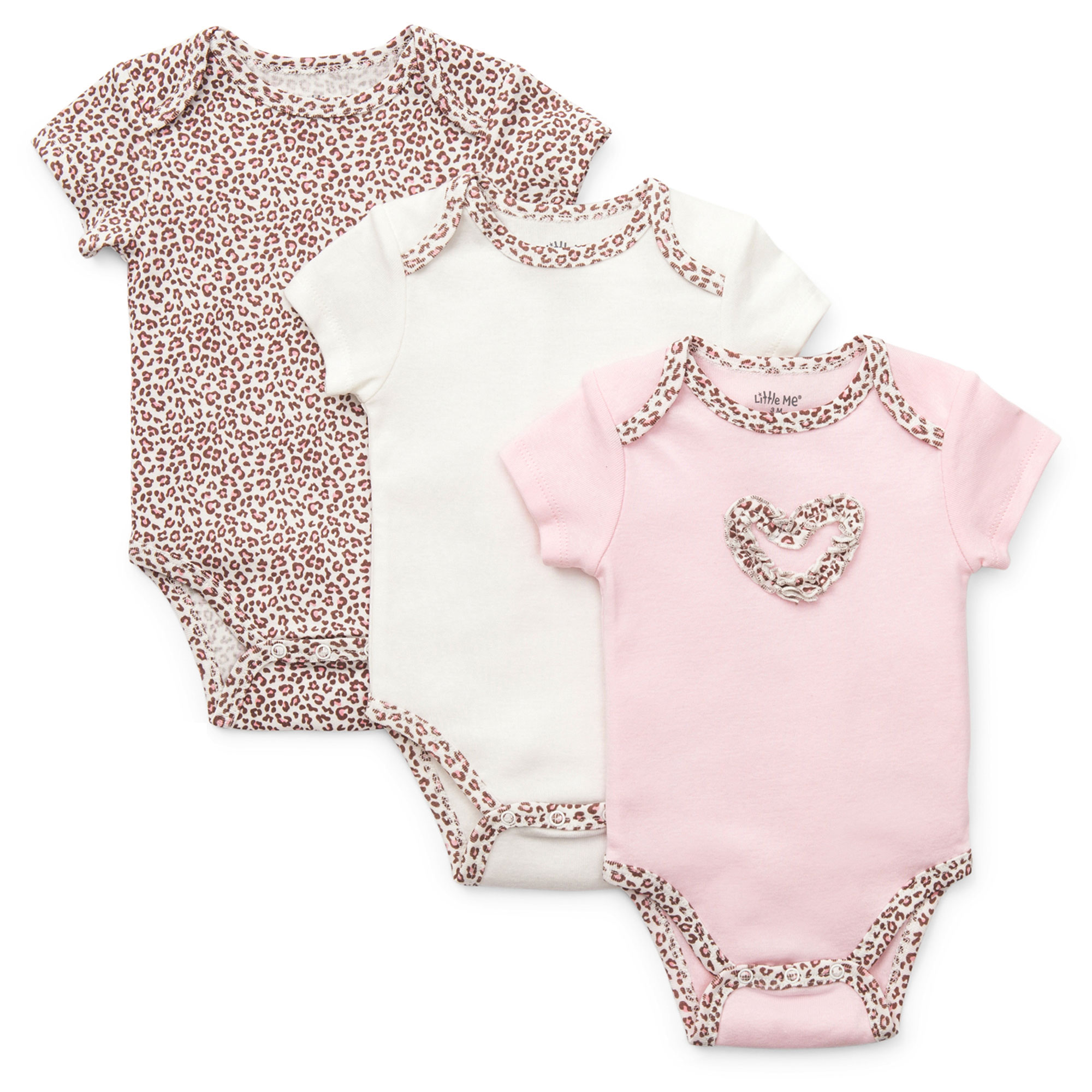 Little Me Baby Leopard Animal Print 3 Pack of Short Sleeve Baby Bodysuit Creepers For Girls - Pink - 9 Months