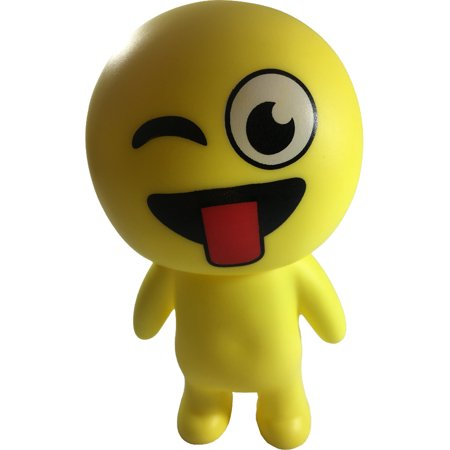 Yellow Tongue Out Emoticon Emoji Squeaky Squeeze Figure Relief Toy (Tongue Swirl Emoji)