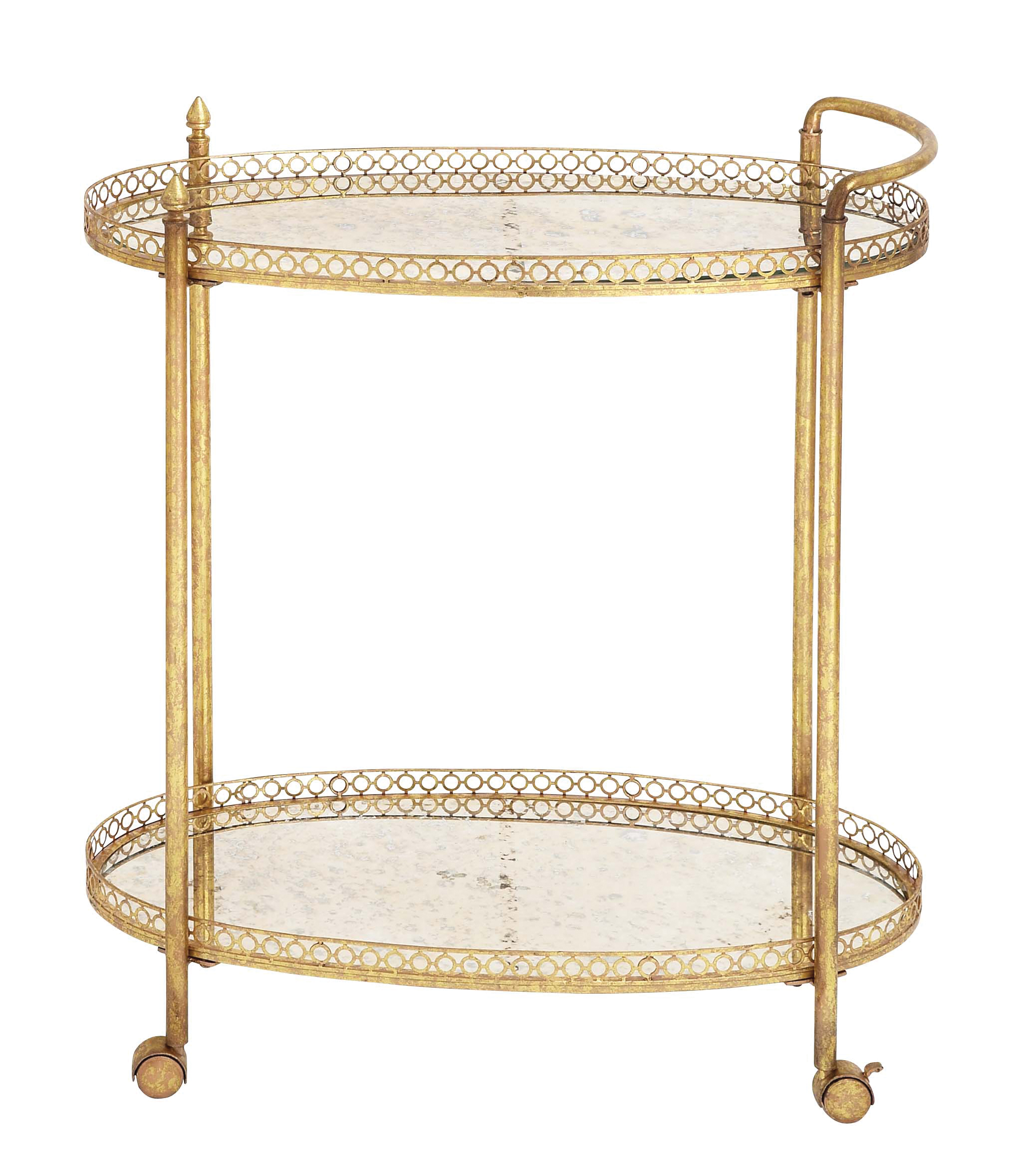 Decmode 35 X 30 Inch Modern Iron and Glass Round Two-Tier Cart, Gold