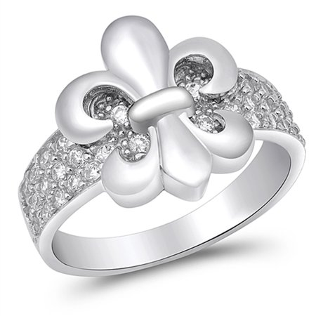 White CZ Fleur De Lis Pave Wide Ring New .925 Sterling Silver Band Size - Fleur De Lis Designer Ring