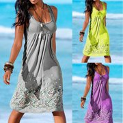 Women Boho Floral Short Mini Dress Party Evening Summer Beach Holiday Sun Dress