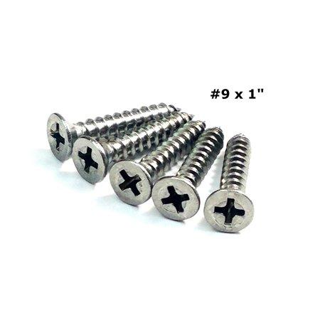 Satin Nickel Wood Screws for Hinges #9 x 1' Inch - 24 (Satin Chrome Screw)