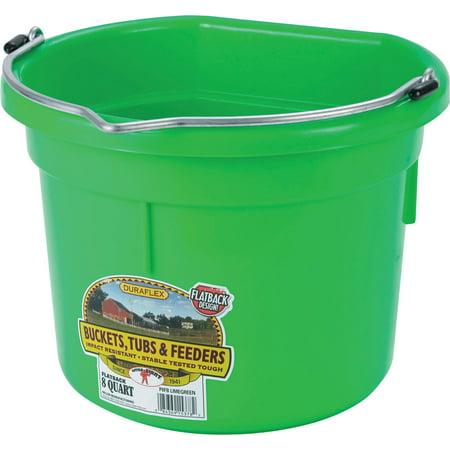 Miller Mfg Co Inc P-Little Giant Plastic Flat Back Bucket- Lime Green 8 Quart](Cheap Plastic Buckets)