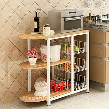 Magshion Kitchen Island Dining Baker Cabinet Basket Storage Shelves Organizer Wood Nature