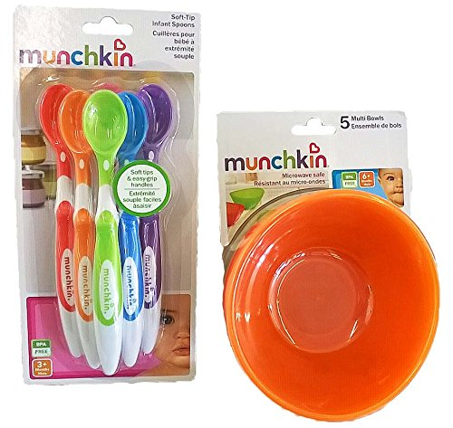 Munchkin 5 Pack Bowl and 6 Pack Spoon Set for baby toddler by Munchkin
