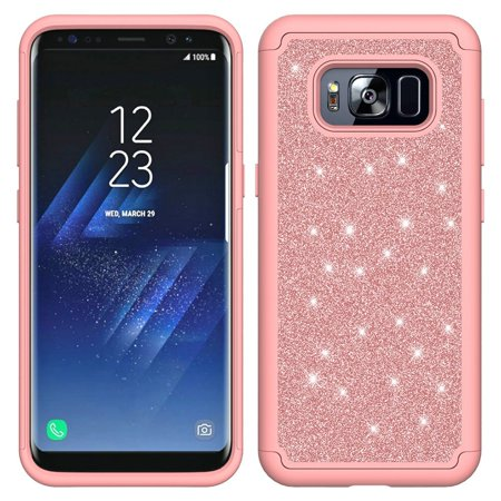 official photos df29a f82fe Samsung Galaxy S8 Case, Slim Luxury Glitter Bling Cover w/ [HD Screen  Protector] Dual Layer Hybrid Protective Phone Cases - Hot Pink