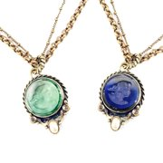 Sweet Romance  Vintage French Intaglio Cameo Pendant Necklace