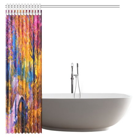 POP Oil Painting Shower Curtain, Colorful Autumn Painting Bathroom Shower Curtain 66x72 inch - image 1 of 2
