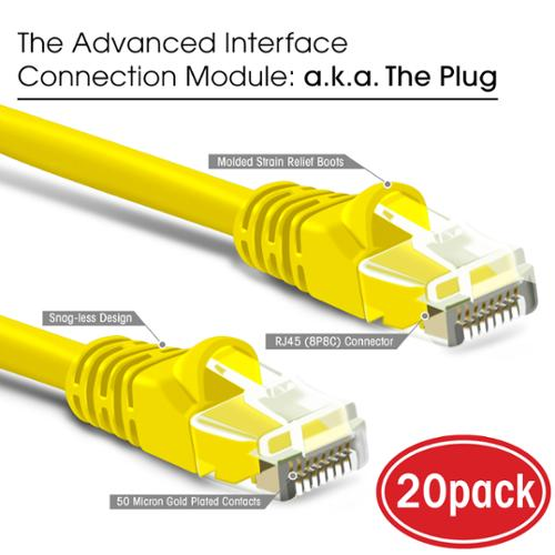 GearIT 20 Pack Computer LAN Network Cord Cat 6 Ethernet Cable Cat6 Snagless Patch 1 Foot Yellow