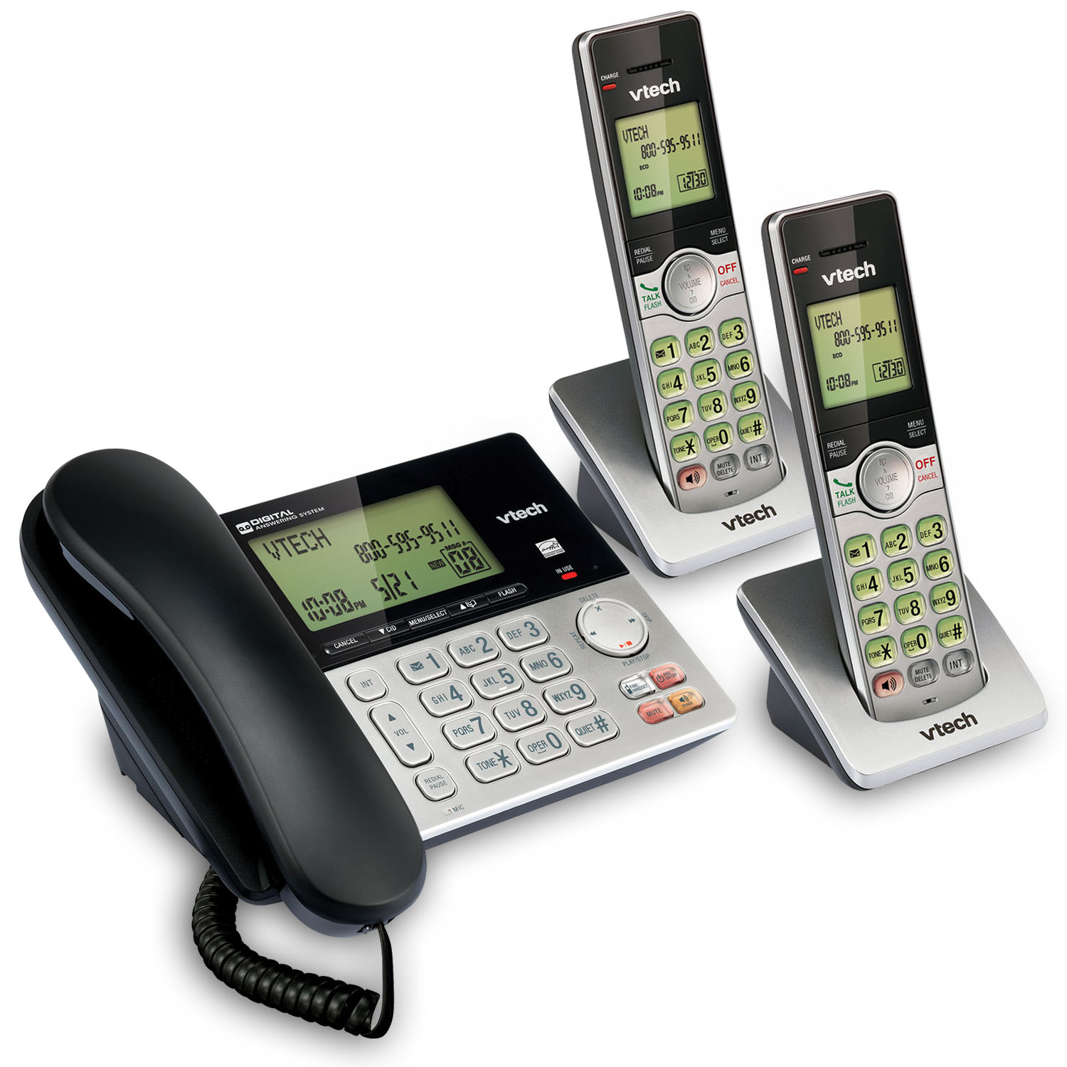 VTech CS6949-2 DECT 6.0 Expandable Cordless Phone with Answering System and Caller ID, 2 Handsets, Silver/Black