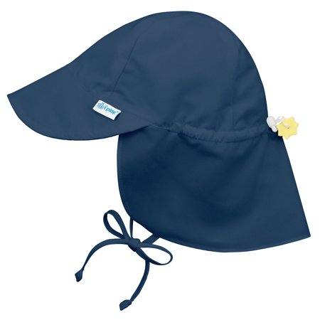 Iplay Flap Sun Hat for Baby Boys Sun Protection Large Billed Hat- Solid Navy Blue-Newborn 0-6 Months Baby Boy Hat Is Adjustable To Fit Outdoor Hat With Chin Strap and Neck Flap; Pool Beach Swim