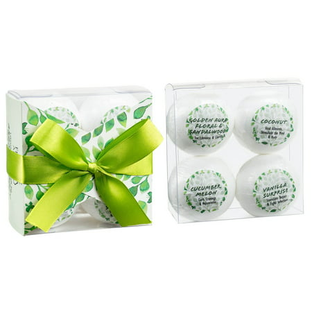 Radox Relax Herbal Bath (Tranquility Gift Set 4 Bath Bombs with Essential Oils. Relax, Relieve Anxiety, Cleanse with Coconut, Cucumber Melon, Vanilla, Sandalwood. Enjoy Calm, Reduce Cravings, Healing, Beautiful Aroma )