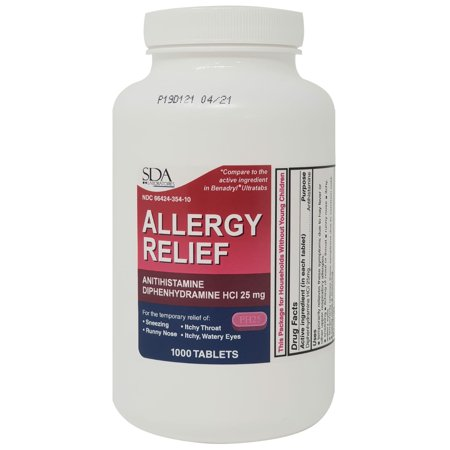 Allergy Relief Diphenhydramine HCl 25mg 1000 Tablets | Relief for Itchy-Watery Eyes, Sneezing, Runny Nose | Indoor & Outdoor
