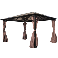 Outdoor Gazebo with Brown Curtain Aluminum 13' x 10' Weather-resistant