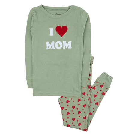 Leveret Kids Pajamas Boys Girls 2 Piece pjs Set 100% Cotton (I Love Mom, Size 12 -