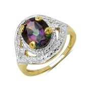 Malaika 14K Yellow Gold Plated 3.25 Carat Genuine Mystic Topaz .925 Sterling Silver Ring Size-7, Multi