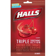 Halls Cough Drops Cherry Flavored - 30 Drops/ Bag, 12 Bags/Case