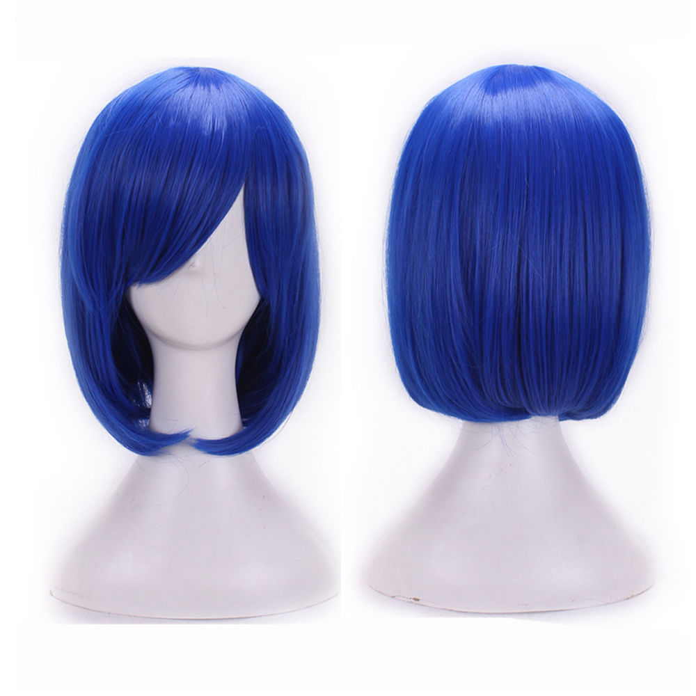 DYMADE Short Straight Full Bangs Hair Dark Blue Cosplay Party Annime Fashion Hair Wig